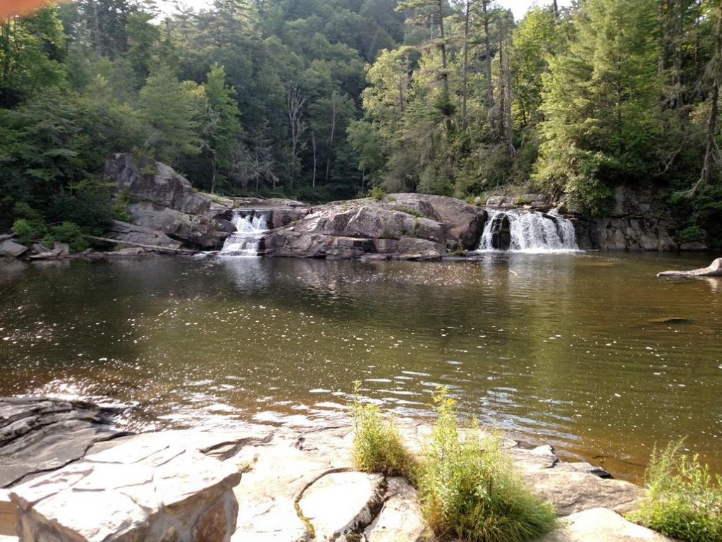 a small waterfall above a tide pool in linville, NC
