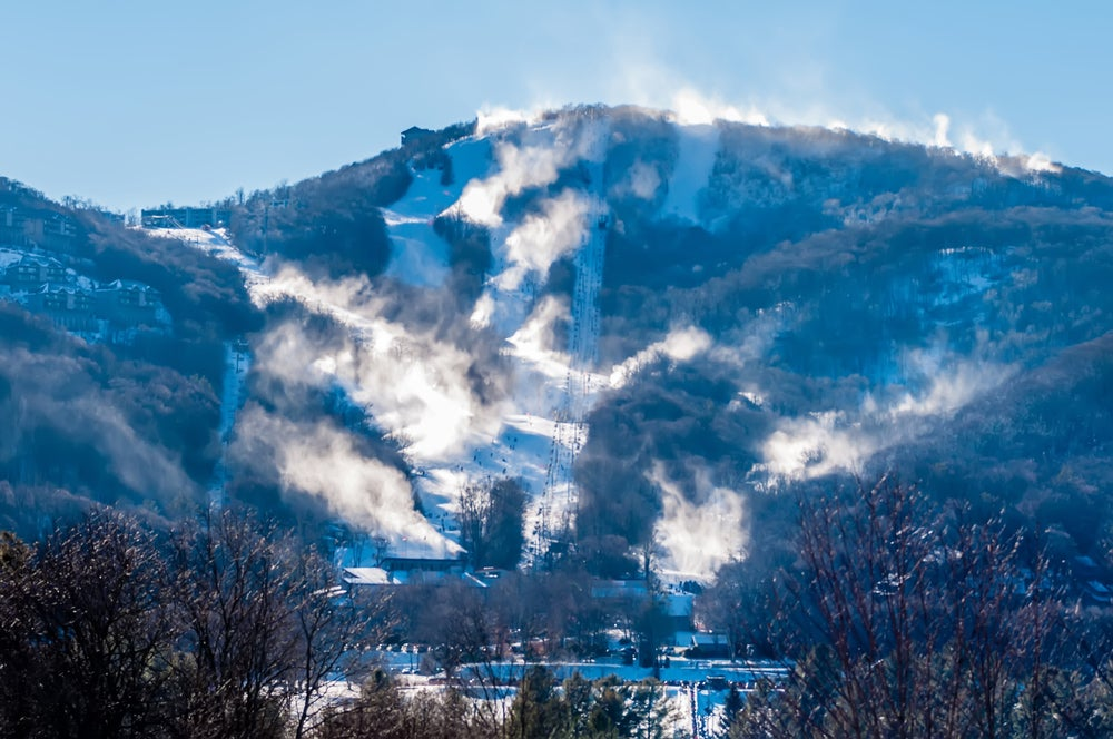a snowy and foggy skiing resport in winter in north carolina