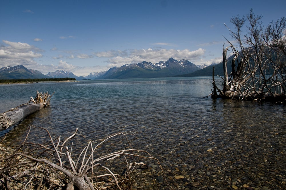 Lake clark in the summertime surrounded by snow capped mountains.