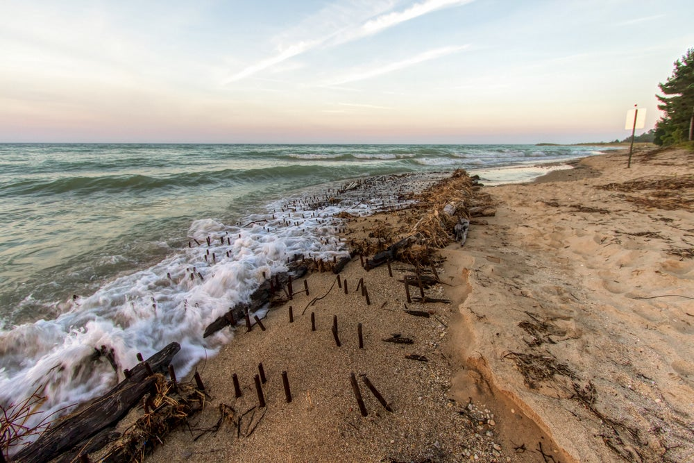Shipwreck of the ill fated wooden iron ore ship the Joseph S. Fay at Forty Mile Point on the coast of Lake Huron near Rogers City, Michigan.