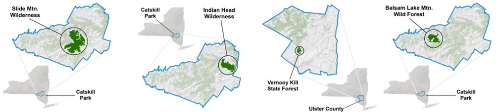 Diagram showing the location of different wilderness areas in the Catskills.