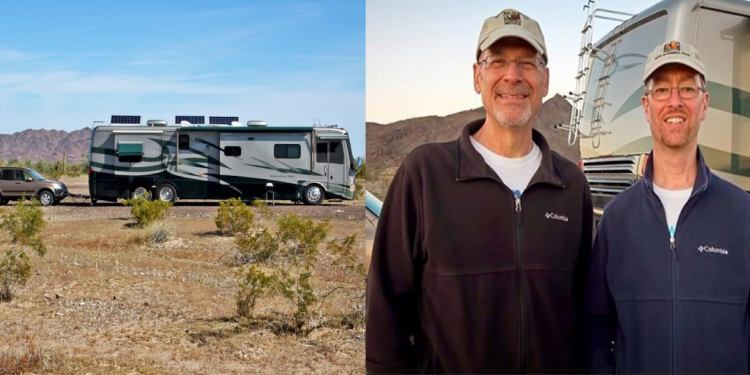an RV on the road in a desert next to an image of john and peter from the RVGeeks