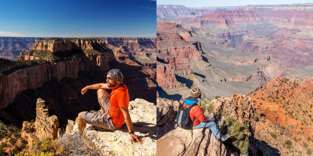 a side by side image of men sitting on cliff edges in the grand canyon