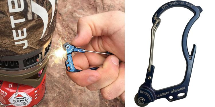 (left) image of a firebiner sparking a camp stove (right) product image of a black firebiner on a white background, knife with firestarter features visible