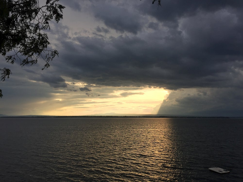 Panoramic view of storm over ocean.