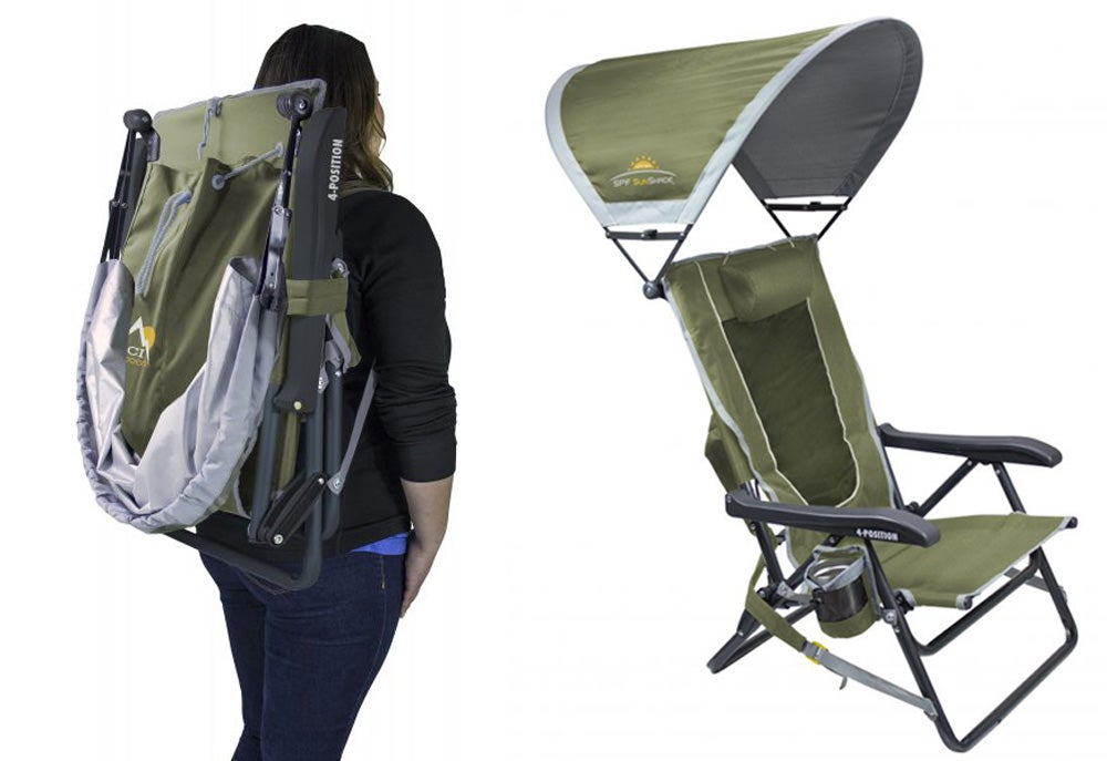 Left: Woman with folding chair on her back. Right: Chair with sun covering overhead