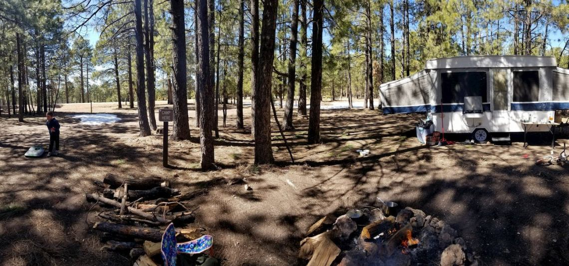 Pop out trailer setup in pine forests beside a campfire.