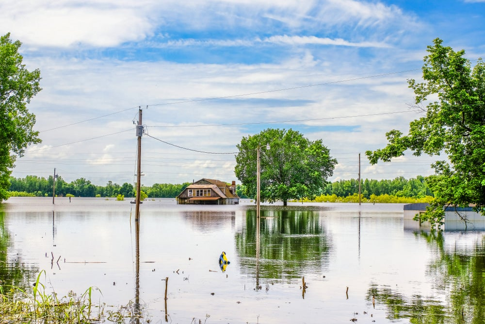 a flooded farm near the missouri river basin in the midwest