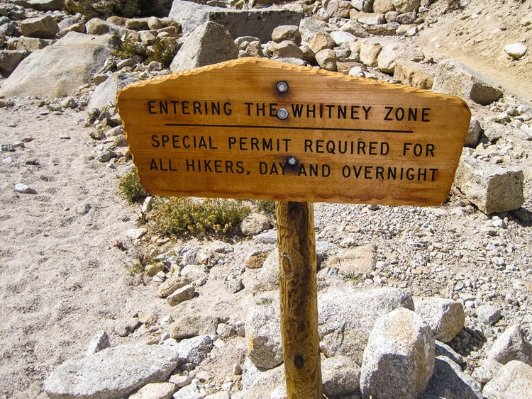 mount whitney zone trail sign permits required