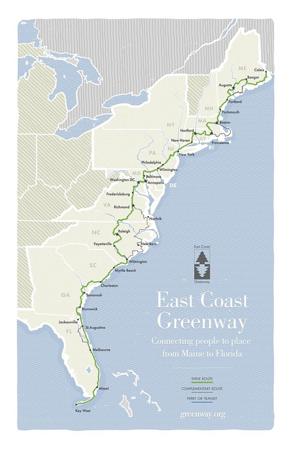 a map of the east coast greenway bike route up the atlantic seaboard
