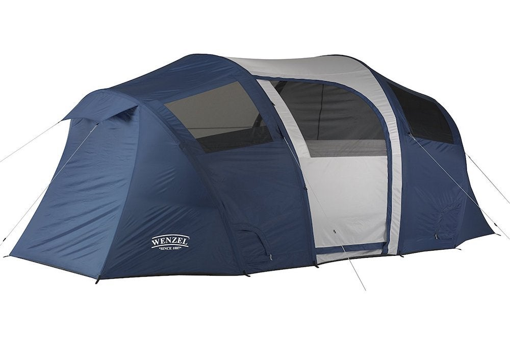 Blue and white tent