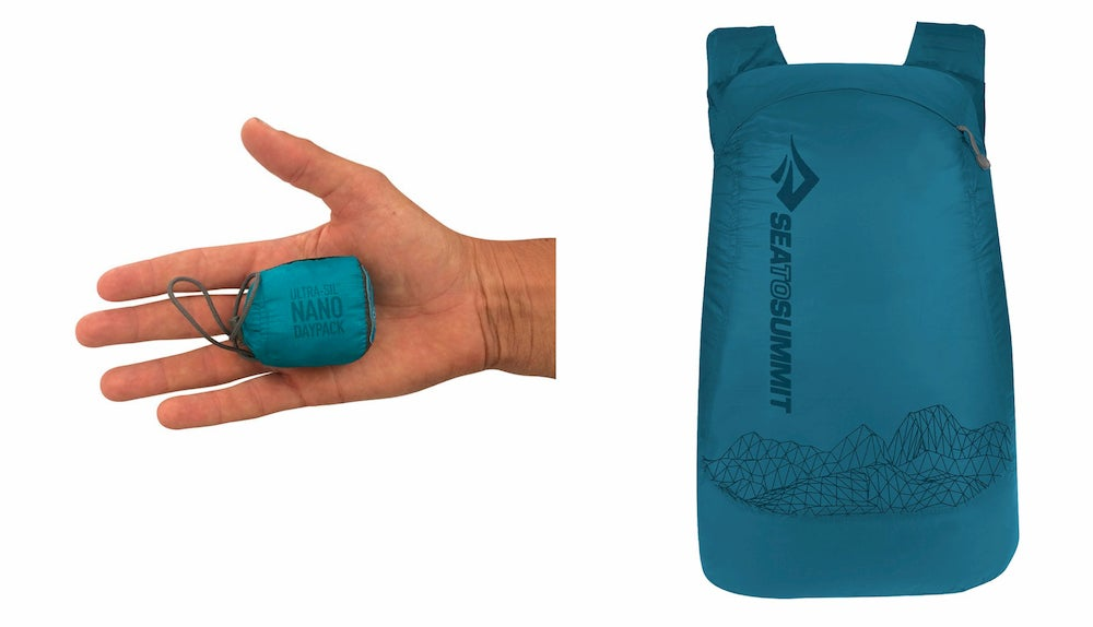 a split image of a hand holding a folded day pack and an unfolded backpack