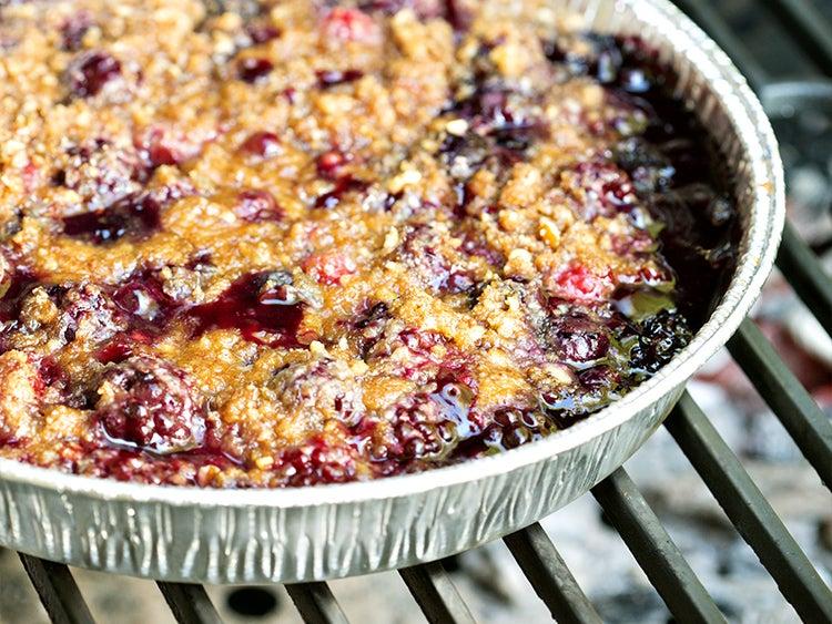 foil pan blueberry cobbler