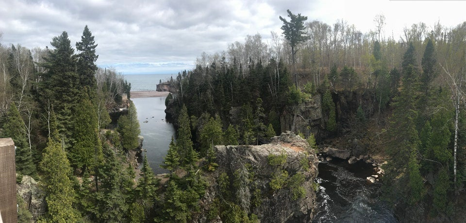 Aerial view of tree-lined cliffs over the Baptism River at Tettegouche State Park, photo from a camper on The Dyrt