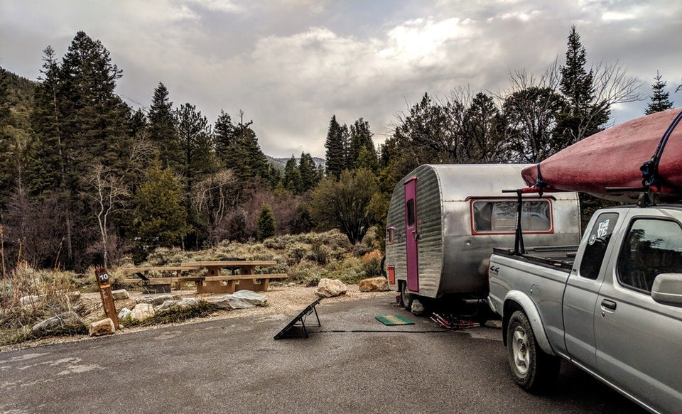 silver canned ham trailer backed in to campsite in Nevada's Upper Lehman area, photo from a camper on The Dyrt