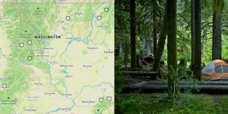 Left: Map showing location of ten free campsites. Right: Tent pitched in Washington forest.