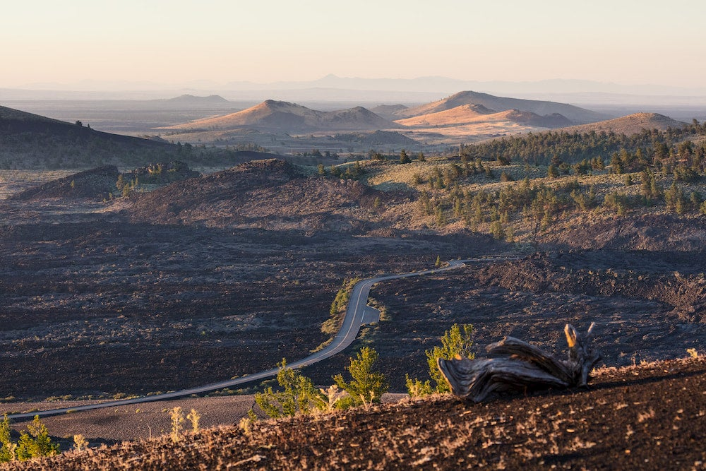 A sweeping view of the Crater of the Moon lava fields form the top of the Inferno Cone Trail.