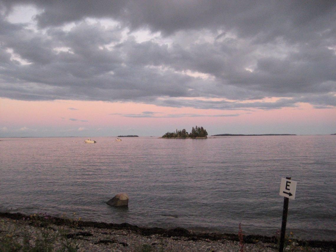 """Dusk beside campsite """"E"""" on a rocky beach."""
