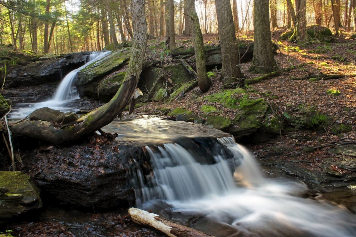 Water flowing down waterfall along the Loyalsock trail.