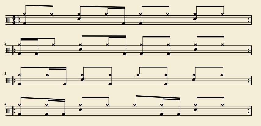 Variation de doubles-croches à la grosse caisse