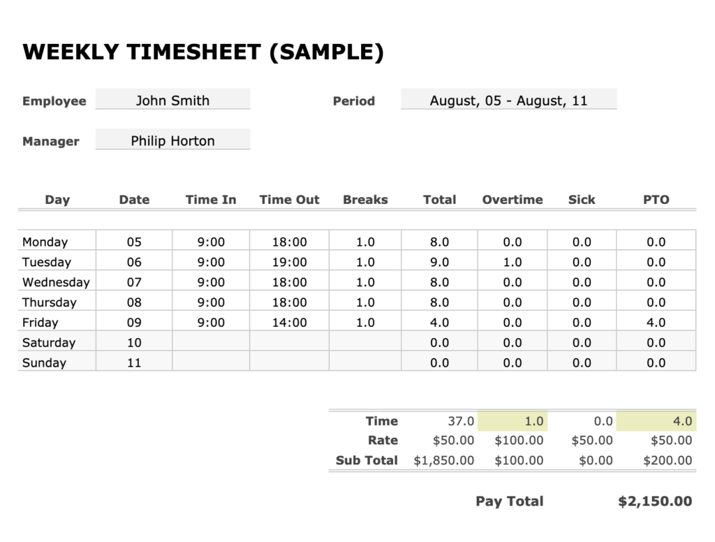 Time Card And Timesheet Calculator Weekly Biweekly With