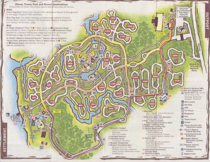 Fort Wilderness transportation explained   TouringPlans com Blog Disney s map of Fort Wilderness including bus routes
