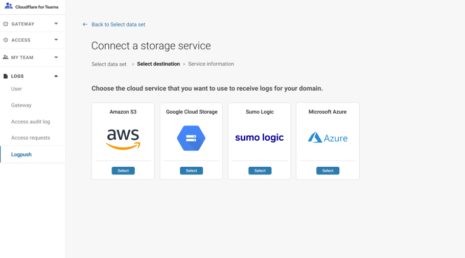Export logs from Cloudflare Gateway with Logpush