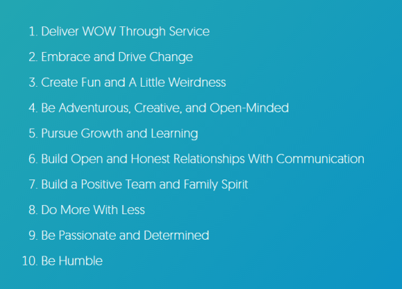 너무 잘 알려져 있는 Zappos의 10가지 코어 밸류