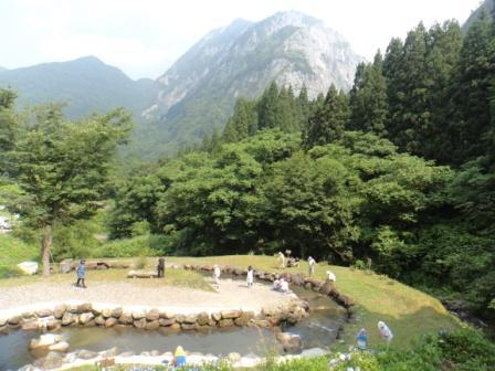 Mt. Myojo rises over the Fishing Park