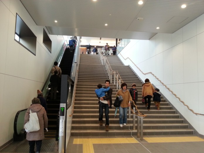 An escalator offers easy access to the station concourse, which is now located on the second floor