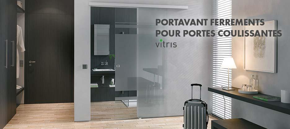 Système de ferrements pour portes coulissantes en verre