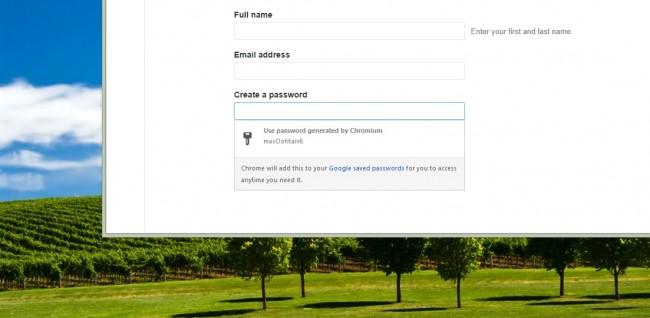 Google Canary Génération de mots de passe