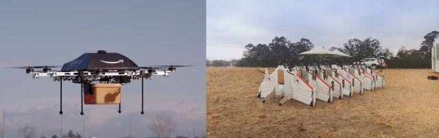 A gauche, l'Amazon Prime Air et à droite des prototypes du Project Wing de Google