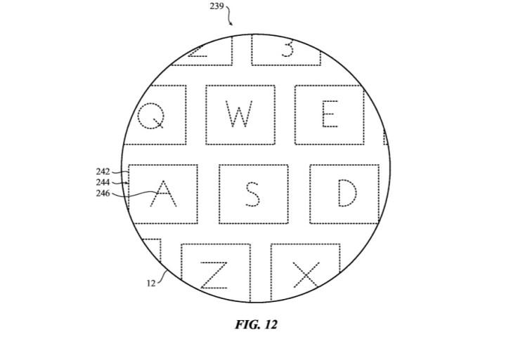 """Schéma du brevet """"Zero Travel"""" : vue zoomée des touches du clavier MacBook"""