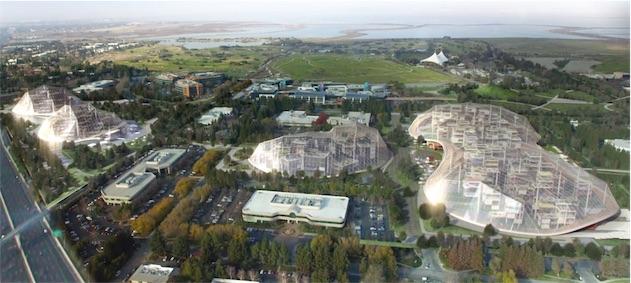 Vue du ciel du campus google à Mountain view