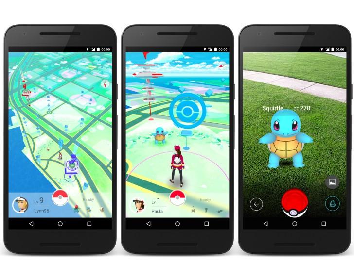 Trois aperçus du jeu Pokémon GO avec un Carapuce à attraper