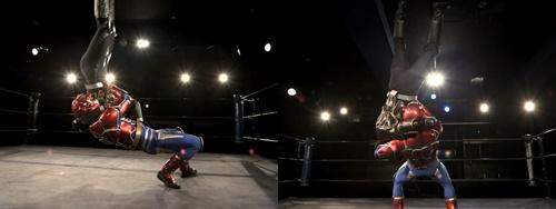 プロレスヒーロー、ファイヤーレオンが偽物にやられて敗北してしまう