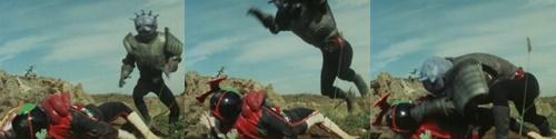 仮面ライダーストロンガーがやられて敗北してしまう