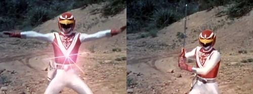戦隊ヒーロー、ライブマンのレッドファルコンがめった斬りにされてやられる