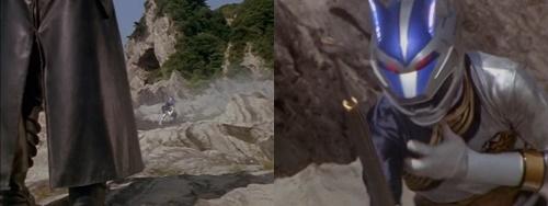 戦隊ヒーロー、ガオシルバーがロウキにやられる。