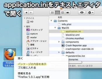 application.iniをテキストエディタで編集する