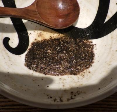 麺と心 7 胡椒そば(醤油)(器に残った胡椒)