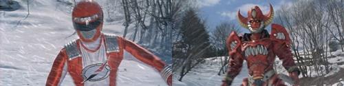 戦隊ヒーロー、ボウケンジャーのボウケンレッドが雪上でヤラレる。