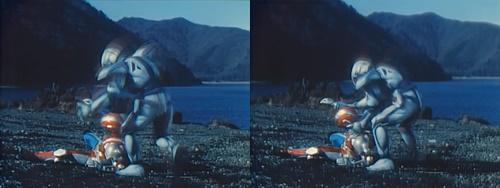 メタルヒーロー、メタルダーが怪力の敵に圧倒されてやられる