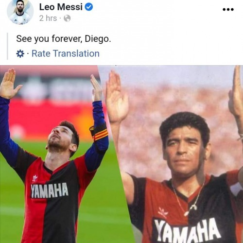 Messi pays tribute to maradona after scoring a goal wearinga a yamaha jersey of maradaona