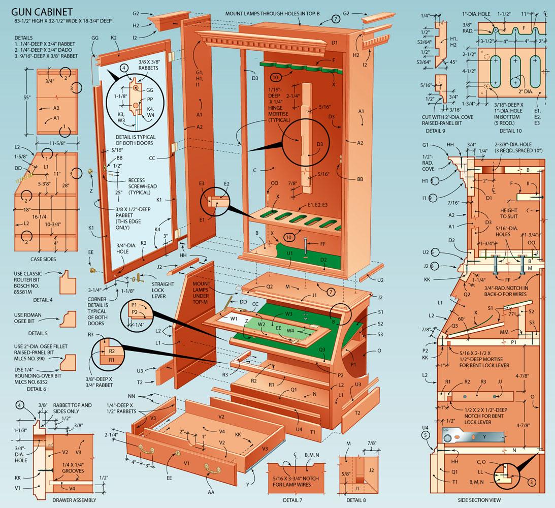 gun cabinet plans designs