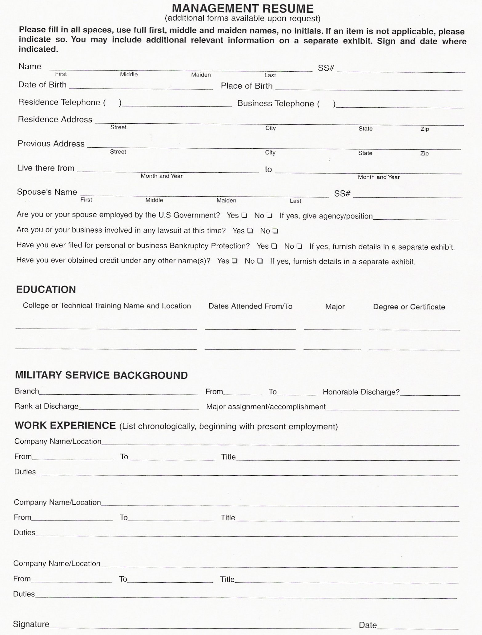 resume fill out form resume form resume and resume templates on