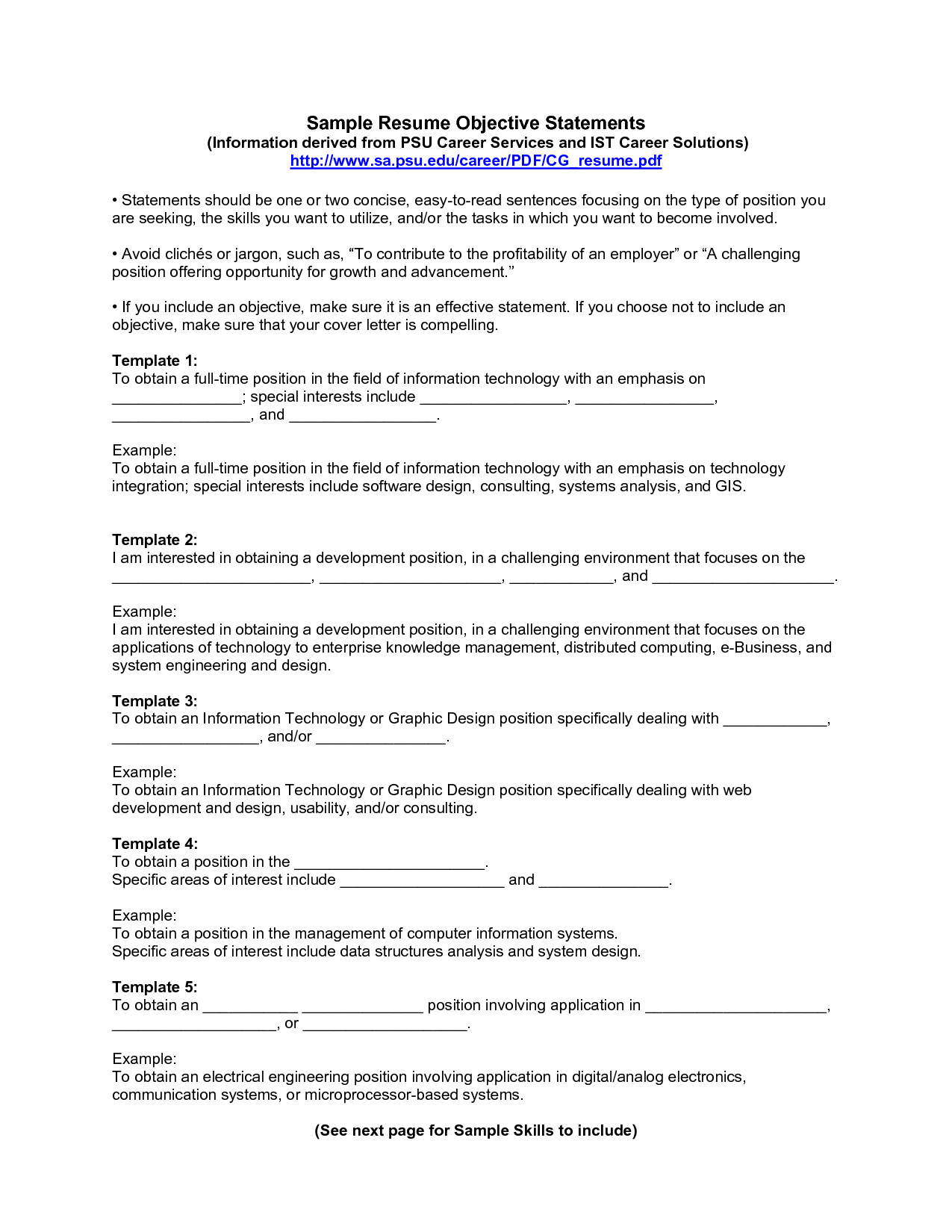 100 examples of good resume job objective statements template