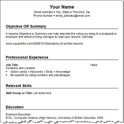 Model Resume Templates. Acting Resume Template Format Resume