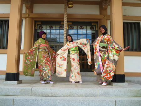 Indonesian girls in kimono and with hijab